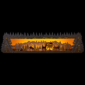Candle Arches Illuminated Stands Illuminated Stand - Snowy Forest with Deer - 77x20 cm / 30.3x7.9 inch