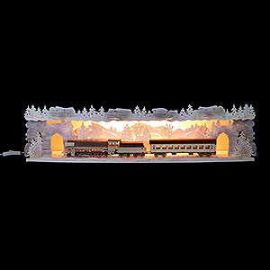 Candle Arches Illuminated Stands Illuminated Stand 'Train Ride Through the Ore Mountains' with White Frost for Candle Arches - 75x20x15 cm / 29.5x7.9x5.9 inch