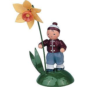Kleine Figuren & Miniaturen Blumenkinder Junge mit Narzisse - 6 cm