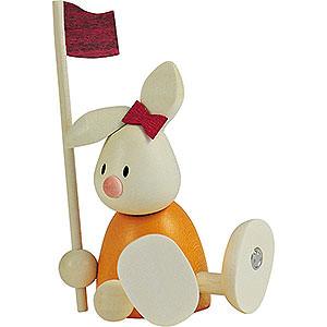 Kleine Figuren & Miniaturen Max & Emma (Hobler) Kaninchen Emma beim Golf - Fahne - 9 cm
