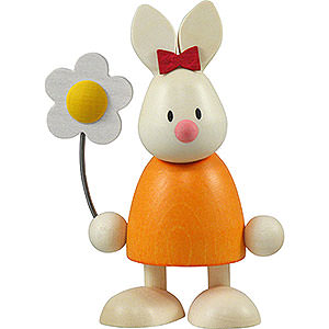Kleine Figuren & Miniaturen Max & Emma (Hobler) Kaninchen Emma mit Blume - 9 cm