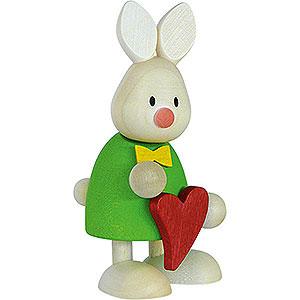 Geschenkideen Herzensangelegenheit Kaninchen Max stehend mit Herz - 9 cm