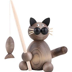 Kleine Figuren & Miniaturen Tiere Katzen Katze Karli mit Fisch - 8 cm