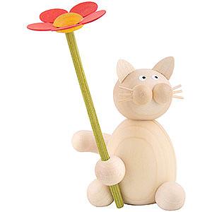 Kleine Figuren & Miniaturen Tiere Katzen Katze Moritz mit Blume - 8 cm