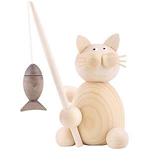 Kleine Figuren & Miniaturen Tiere Katzen Katze Moritz mit Fisch - 8 cm