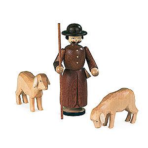 Kleine Figuren & Miniaturen Krippen Krippenfiguren - Schäfer mit Schafen - 13 cm