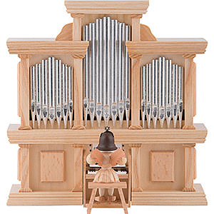 Weihnachtsengel Kurzrockengel (Blank) Kurzrockengel Engel an der Orgel mit Spielwerk, natur - 15,5 cm