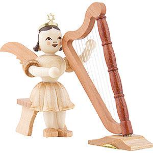 Weihnachtsengel Kurzrockengel (Blank) Kurzrockengel Harfe sitzend, natur - 6,6 cm