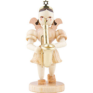 Weihnachtsengel Kurzrockengel (Blank) Kurzrockengel Saxophon, natur - 6,6 cm