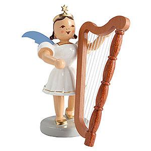 Weihnachtsengel Kurzrockengel farbig (Blank) Kurzrockengel farbig Harfe - 6,6 cm