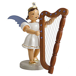 Weihnachtsengel Kurzrockengel farbig (Blank) Kurzrockengel farbig Harfe mit SWAROVSKI ELEMENTS - 6,6 cm