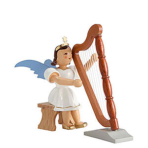 Weihnachtsengel Kurzrockengel farbig (Blank) Kurzrockengel farbig Harfe sitzend - 6,6 cm
