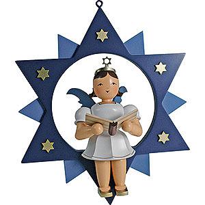 Weihnachtsengel Kurzrockengel im Stern farbig (Blank) Kurzrockengel farbig Sänger im Stern - 28 cm