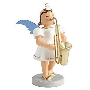 Weihnachtsengel Kurzrockengel farbig (Blank) Kurzrockengel farbig Saxophon - 6,6 cm