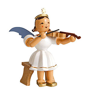 Weihnachtsengel Kurzrockengel farbig (Blank) Kurzrockengel farbig Violine sitzend - 6,6 cm