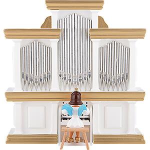 Weihnachtsengel Kurzrockengel farbig (Blank) Kurzrockengel farbig an der Orgel - 15,5 cm