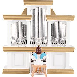 Weihnachtsengel Kurzrockengel farbig (Blank) Kurzrockengel farbig an der Orgel mit Spielwerk - 15,5 cm