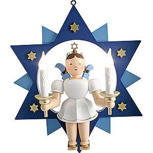 Weihnachtsengel Kurzrockengel im Stern farbig (Blank) Kurzrockengel farbig im Stern mit elektrischer Beleuchtung - 28 cm