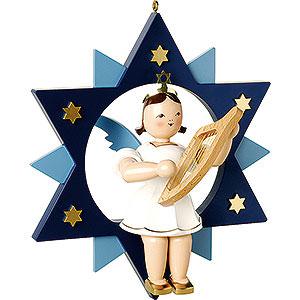Weihnachtsengel Kurzrockengel im Stern farbig (Blank) Kurzrockengel farbig mit Leier im Stern - 28 cm