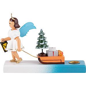 Weihnachtsengel Kurzrockengel farbig (Blank) Kurzrockengel farbig mit Schlitten - 6,6 cm
