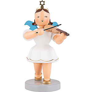 Weihnachtsengel Kurzrockengel medium farbig (Blank) Kurzrockengel farbig mit Violine - 20 cm