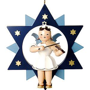 Weihnachtsengel Kurzrockengel im Stern farbig (Blank) Kurzrockengel farbig mit Violine im Stern - 28 cm