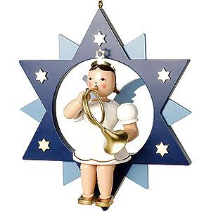 Weihnachtsengel Kurzrockengel im Stern farbig (Blank) Kurzrockengel farbig mit Waldhorn im Stern - 28 cm