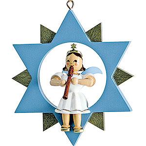 Weihnachtsengel Kurzrockengel im Stern farbig (Blank) Kurzrockengel mit Blockflöte im Stern, farbig - 9 cm