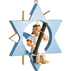 Weihnachtsengel Kurzrockengel im Stern farbig (Blank) Kurzrockengel mit Fagott im Stern, farbig - 9 cm