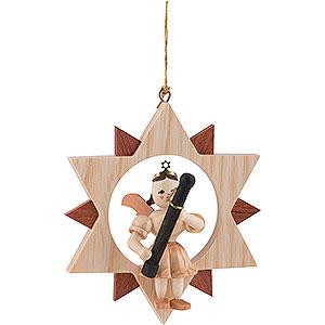 Baumschmuck Christbaumschmuck Kurzrockengel mit Fagott im Stern, natur - 9 cm