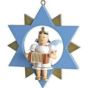 Weihnachtsengel Kurzrockengel im Stern farbig (Blank) Kurzrockengel mit Harmonika im Stern, farbig - 9 cm