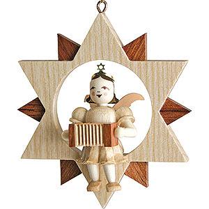 Baumschmuck Christbaumschmuck Kurzrockengel mit Harmonika im Stern, natur - 9 cm