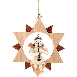 Baumschmuck Christbaumschmuck Kurzrockengel mit Klarinette im Stern, natur - 9 cm