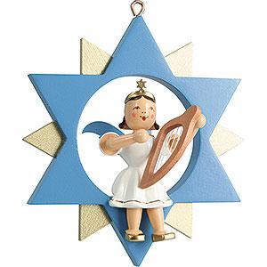 Weihnachtsengel Kurzrockengel im Stern farbig (Blank) Kurzrockengel mit Leier im Stern, farbig - 9 cm