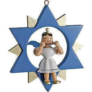 Weihnachtsengel Kurzrockengel im Stern farbig (Blank) Kurzrockengel mit Mundharmonika im Stern, farbig - 9 cm