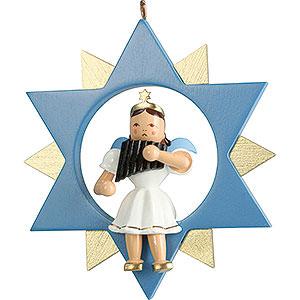 Weihnachtsengel Kurzrockengel im Stern farbig (Blank) Kurzrockengel mit Panflöte im Stern, farbig - 9 cm
