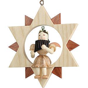 Baumschmuck Christbaumschmuck Kurzrockengel mit Panflöte im Stern, natur - 9 cm