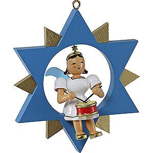 Weihnachtsengel Kurzrockengel im Stern farbig (Blank) Kurzrockengel mit Trommel im Stern, farbig - 9 cm