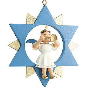 Weihnachtsengel Kurzrockengel im Stern farbig (Blank) Kurzrockengel mit Trompete im Stern, farbig - 9 cm
