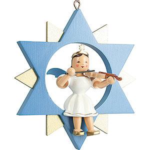 Weihnachtsengel Kurzrockengel im Stern farbig (Blank) Kurzrockengel mit Violine im Stern, farbig - 9 cm