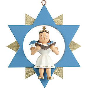 Weihnachtsengel Kurzrockengel im Stern farbig (Blank) Kurzrockengelsänger im Stern, farbig - 9 cm