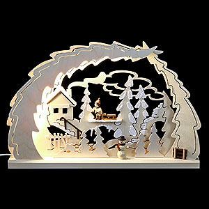 Candle Arches Fret Saw Work LED Candle Arch - Sled Hike - 40x28,5x4,5 cm / 15.7x11x1.7 inch
