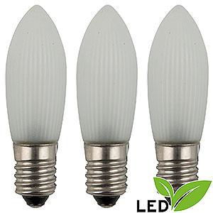 Lichterwelt Ersatzlampen LED-Riffelkerze gefrostet - Sockel E10 - warmweiß - 0,1-0,2W