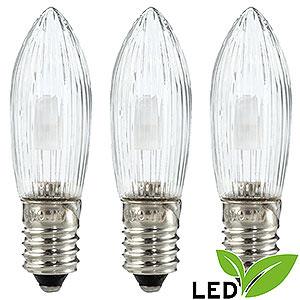 Lichterwelt Ersatzlampen LED-Riffelkerze klar - Sockel E10 - warmweiß - 0,1-0,3W