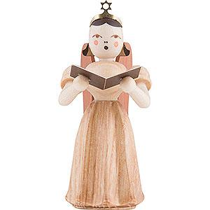Weihnachtsengel Faltenlangrockengel (Blank) Langfaltenrockengel mit Sänger, natur - 6,6 cm