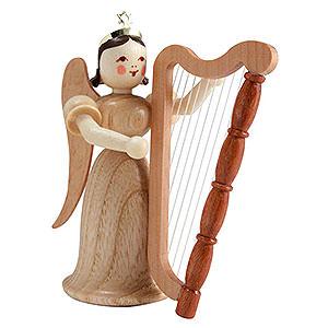 Weihnachtsengel Langrockengel (Blank) Langrockengel mit Harfe, natur - 6,6 cm