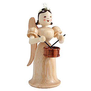 Weihnachtsengel Langrockengel (Blank) Langrockengel mit Trommel, natur - 6,6 cm