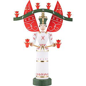 Weihnachtsengel Engel und Bergmann Lichterengel mit Joch, lasiert - 70 cm / 27.5inch