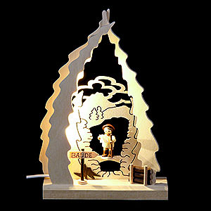 Schwibbögen Laubsägearbeiten Lichterspitze LED mini Wanderer - 15,5x23,5x4,5 cm