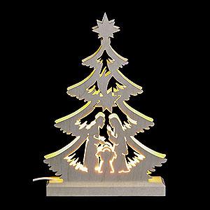 Lichterwelt Lichterspitzen Lichterspitze Mini-Baum Krippenszene, LED - 23,5x15,5x4,5 cm